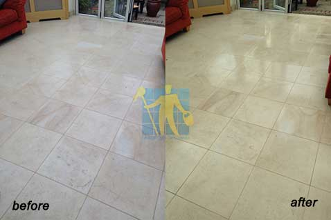 before and after remove scratches stains and marks from limestone floor