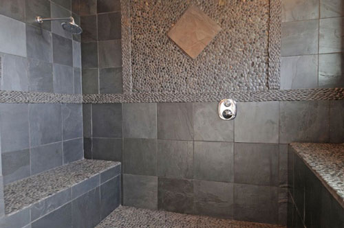 modern slate tile in bathroom